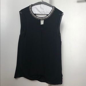 Rebecca Taylor black top with rhinestone collar